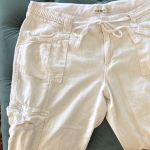 Old navy white linen pants with cargo pockets